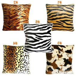 Animal Multi-Pattern Faux Fur Decorative Throw Pillow Cover