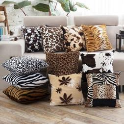 Animal Skin Zebra Leopard Print Pillow Case Sofa Throw Cushi