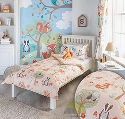 Woodland Animals Double Quilt Duvet Cover and 2 Pillowcase B