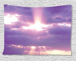 Ambesonne Apartment Decor Collection, Sunburst on Cloudy Sky