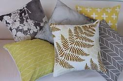 Art Gray and Yellow Leaf Home Decor Cotton CUSHION COVER PIL