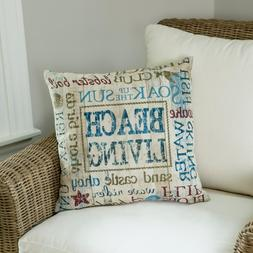 Beach Living Multicolored Plaid 18 In X 18 In Throw Pillow C