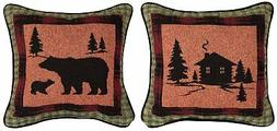Manual Woodworkers & Weavers Bear Lodge Cabin/Bear Throw Pil