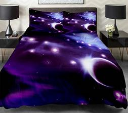 Anlye Purple Bedding Sets 2 Sides Printing With moon and Bri