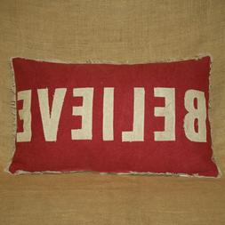 Believe Throw Pillow with Candy Cane Print Back Christmas Pr
