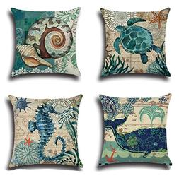 Yunko Benthos Marine Animal Zippered Pillow Cases Cover Cush