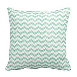 Bigdream Mint Green And White Chevron Pattern Throw Pillow D