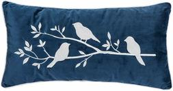 Bird Branch Throw Pillow-Blue Velvet with White Embroidery T