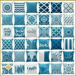 """16x16"""" Teal Blue White Soft Throw PILLOW COVER 2-Sided Decor"""