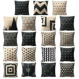 Black & White Geometric Throw Cover Pillow Cushion Square Ca