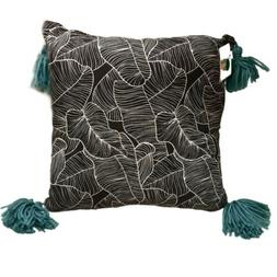 """Black & White Leaves 14"""" x 14"""" Sq Throw Pillow with Teal Gre"""