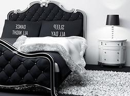 Black with White Sleep All Day Dance All Night Novelty Pillo