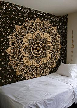 Madhu International Exclusive Black Gold Mandala Tapestry, B