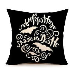 4TH Emotion Black Happy Halloween Throw Pillow Case Cushion