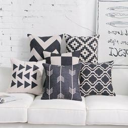 DEZENE Black Throw Pillow Covers for Couch - Set of 6 - Deco