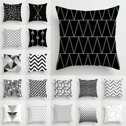 Home Decorative Square Pillow Cover Sofa Waist Throw Black A