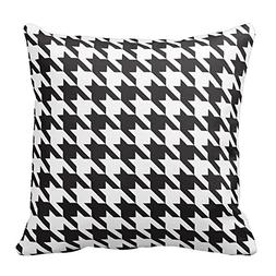 Black and White Houndstooth Square Decorative Throw Pillow C