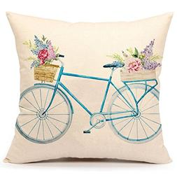 4TH Emotion Blue Bicycle Throw Pillow Cover Vintage Spring H