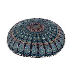"Shubhlaxmifashion 32"" Blue Mandala Floor Pillow Cushion Seat"