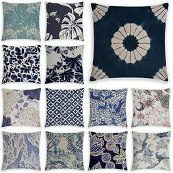 Blue Simple Pattern Pillow Cases Sofa Car Waist Throw Cushio