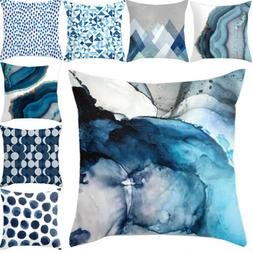 Blue Simple Pattern Pillow Cases Sofa Waist Car Throw Cushio