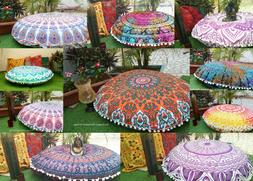Bohemian Indian Mandala Large Round Floor Pouf Pillow Sofa T
