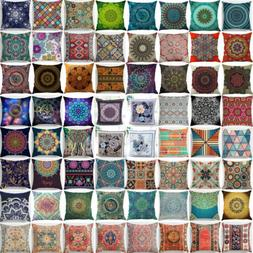 Ethnic Mandala Cotton Linen Throw Cushion Cover Pillow Case