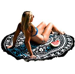 EVALESS Bohemian Round Pattern Fringing Cotton Beach Towel C