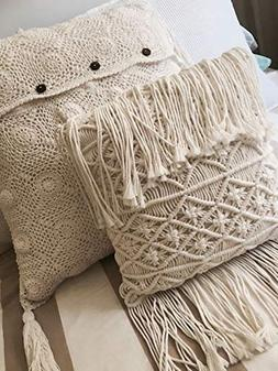 Boho Decorative Pillows Macrame Throw Pillows Tassel Handmad