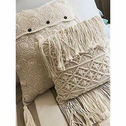 Boho Throw Pillow Covers Decorative Pillows Macrame Tassel H