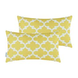 CaliTime Pack of 2 Soft Canvas Bolster Pillow Covers Cases f