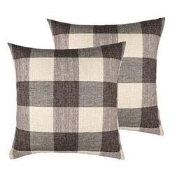 4TH Emotion 18x18 Brown Grey Buffalo Check Plaids Throw Pill