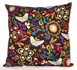 Brown Throw Pillow Cover - Cushion Cover - Birds and Floral