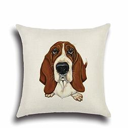 DECORLUTION Brown and White Basset Hound Pattern Square Cush