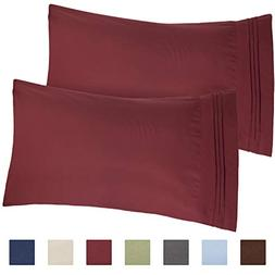 CGK Unlimited Burgundy Pillow Cases - Queen Size Set of 2 -