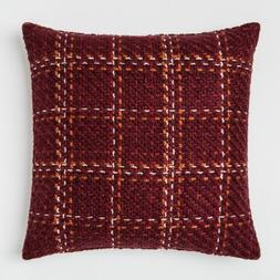 Burgundy Plaid Oversize Woven Square Throw Pillow Berry 24""