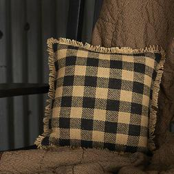 BURLAP BLACK CHECK PILLOW Fringed Tan Rustic Farmhouse Cotto