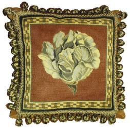 Deluxe Pillows Cabbage on Brown - 12 x 12 in. needlepoint pi