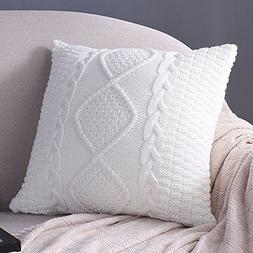Sanifer Cable Knit Pillow Covers 18x18 Decorative Pillow Cas