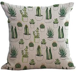 Cactus Cushion Cover ChezMax Cotton Linen Throw Pillow Case