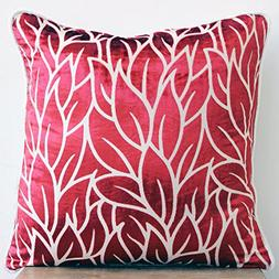 Cayenne Red Pillows Cover, Leaf Design Tropical Theme Throw