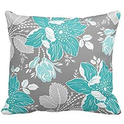 Chic Teal and Gray Floral Pattern Decorative Throw Pillow Co
