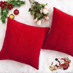 christmas decorative throw pillow covers striped velvet