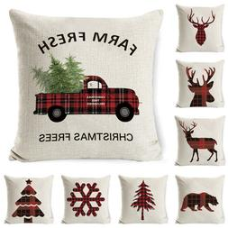 Christmas Flax Throw Pillow Covers Cases Sofa Cushion Cover