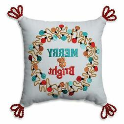 Pillow Perfect Christmas Lights Wreath Red-Aqua 11.5-inch Th
