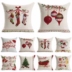 Christmas Linen Cushion Cover Throw Pillow Case Xmas Home De