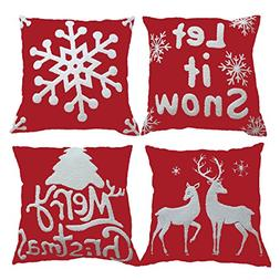 sykting Christmas Pillow Covers Set of 4 Embroidery Throw Pi