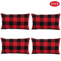 TEALP Christmas Red and Black Buffalo Plaid Throw Pillow Cas