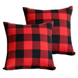 Christmas Red and Black Plaid Throw Pillow Case Cushion Cove