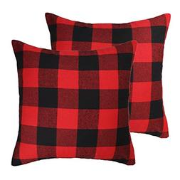 4TH Emotion Christmas Red and Black Buffalo Check Plaid Thro